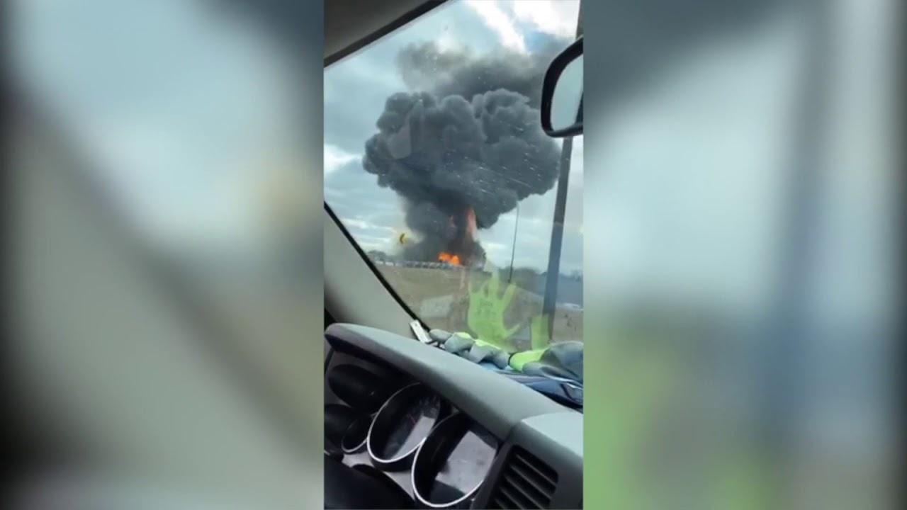 Video of I-70, I-465 tanker truck explosion