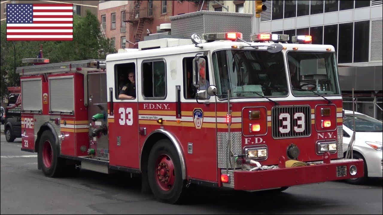 Fdny Fire Truck Responding Blasts Air Horn   Siren And