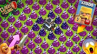 2000 Barbrians VS Full Wizard Towers ! | CLash Of Clans | CoC