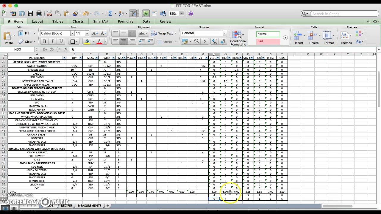 21DAYFIX MEAL PLANNING EXCEL SHEET - YouTube