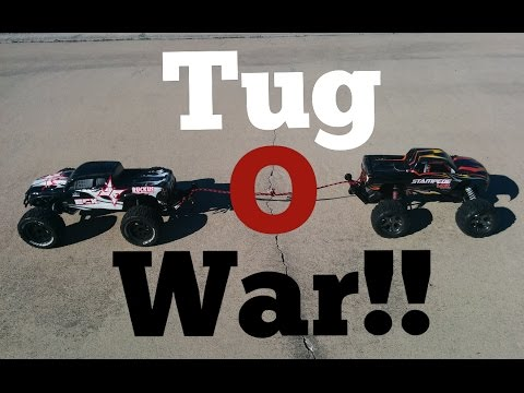 Traxxas Stampede VXL 2wd VS ECX Ruckus Brushless 2wd Tug Of War!