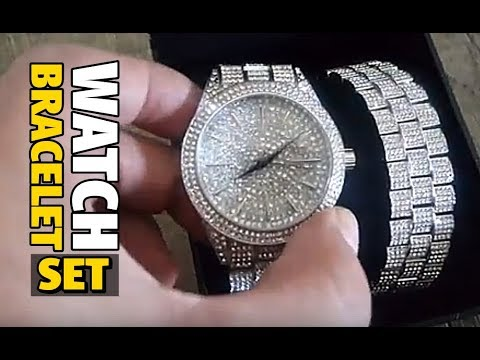 Mens Iced Out Hip Hop Watch Bracelet Set Silver Tone 8 Inch Youtube