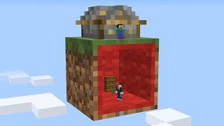 I built a secret base inside this players 1 block skyblock...