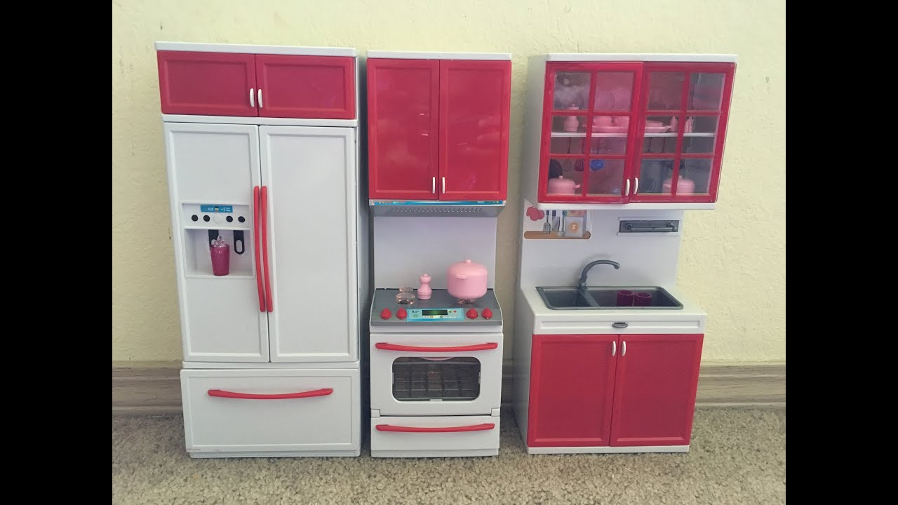 barbie gourmet kitchen cabinets ct red mini toy playset w lights and sounds