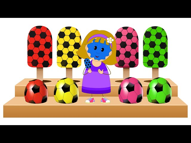 Learn Colors And Soccer Ball Shapes With Yummy Soccer Balls Colored Ice Cream Candy by KidsCamp