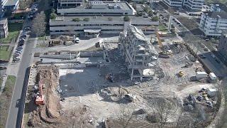 Wir erweitern unsere Zentrale: Abriss im Zeitraffer/Ausblick auf das neue Gebäude