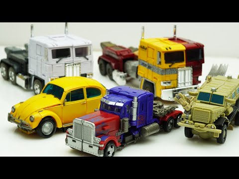 STOP MOTION TRANSFORMERS - Optimus Prime, Bumblebee, Bonecrusher Hole Animation Transform Robot TOYS