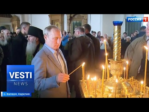 Putin Tries to Cure Lukashenko's Atheism at Valaam! Both Awed By Beauty of Medieval Monastery!