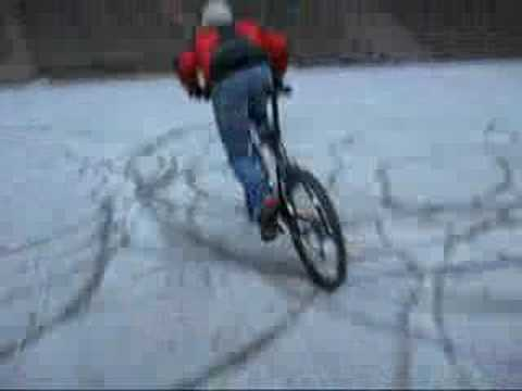 bicycle drift in snow, latvia