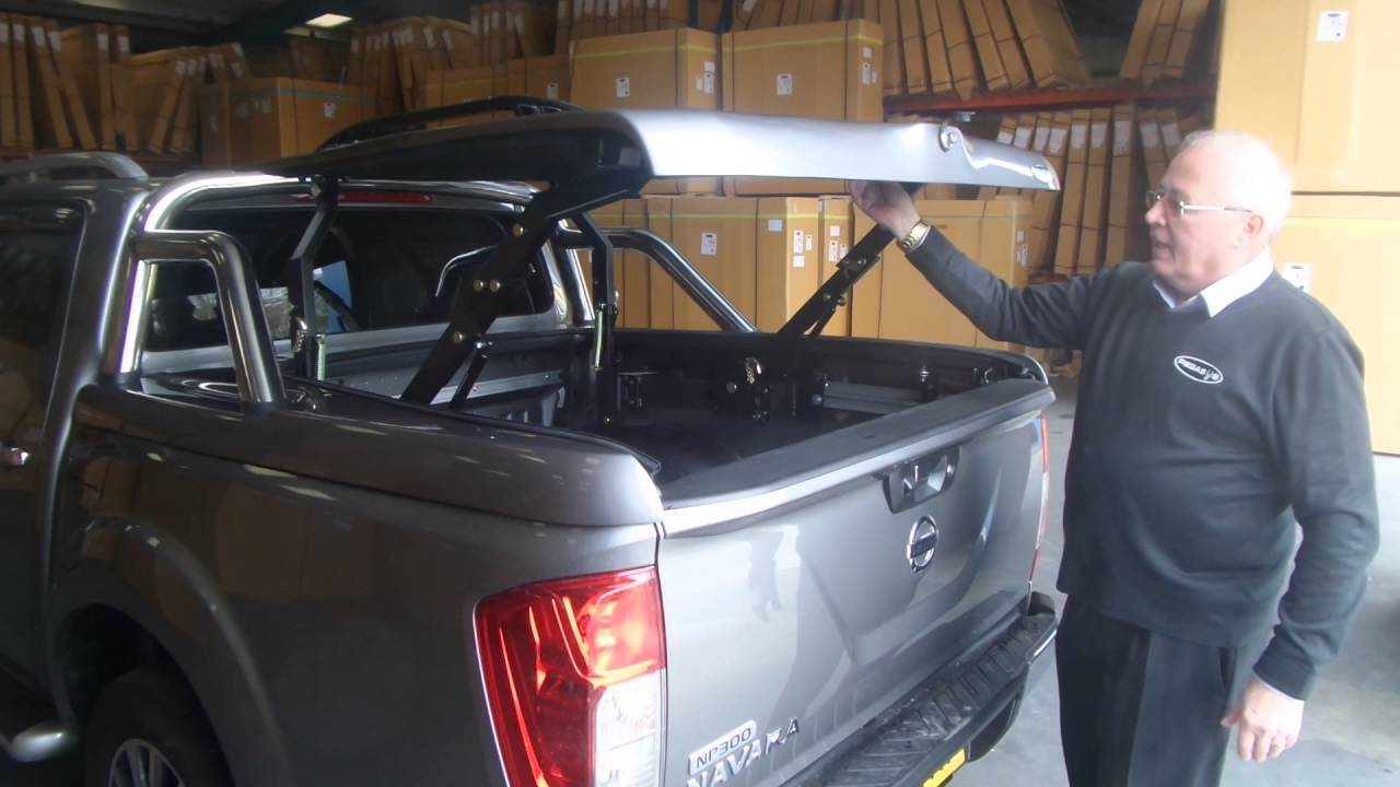 nissan navara top up cover tonneau lid with styling bars - youtube