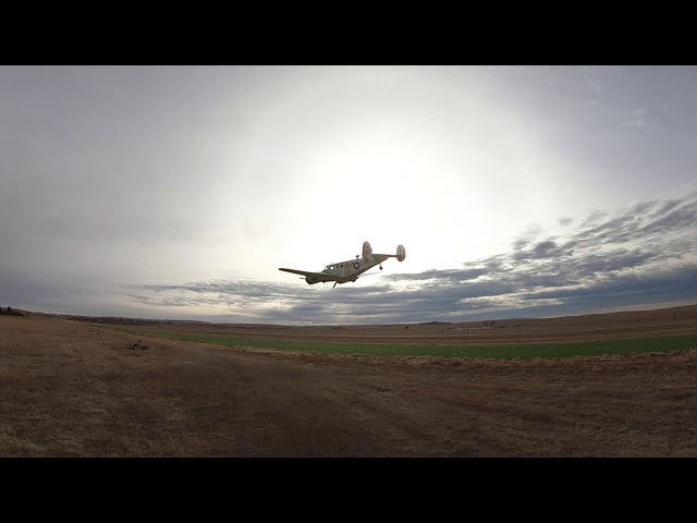 C-45 Twin Beech scans runway 17 at the Calhan Colorado Airport.