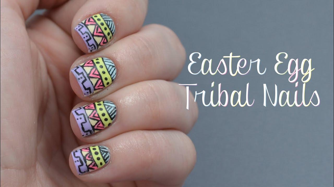 Easter Egg Tribal Nail Art Tutorial - YouTube