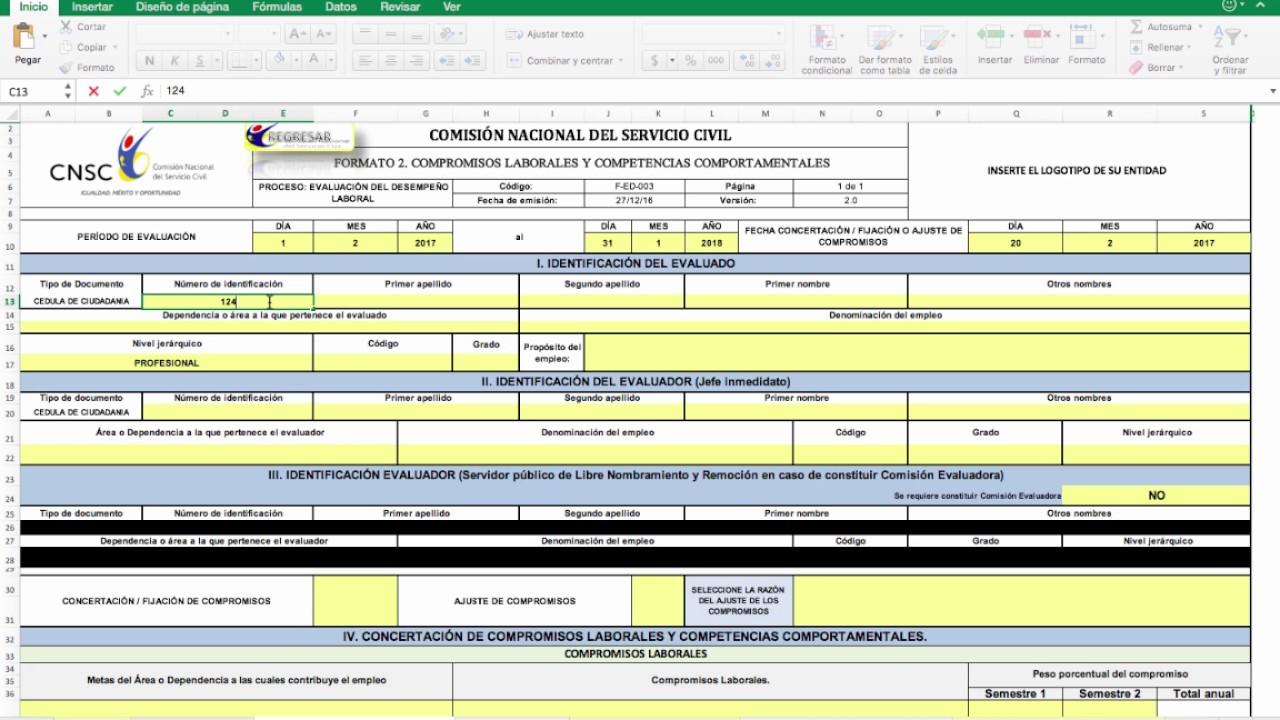 Tutorial Formatos Evaluación del Desempeño Laboral 2017 - YouTube