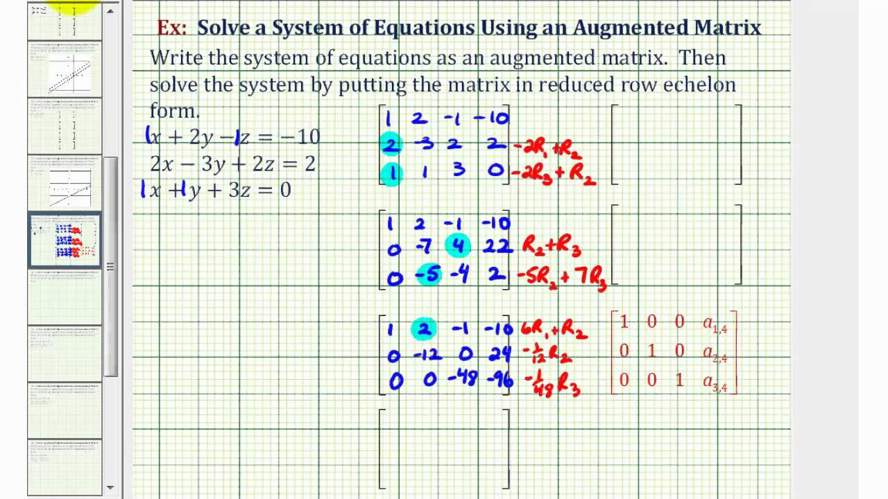 Ex: Solve a System of Three Equations Using an Augmented Matrix ...