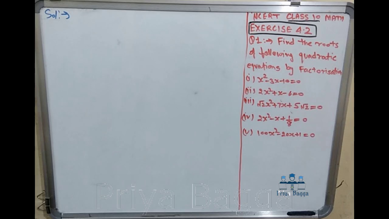 Question 1(iv) Exercise 4.2 Class-10 Maths Quadratic Equations- CBSE ...