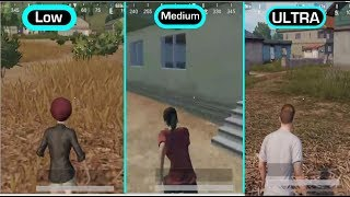 PUBG MOBILE LOW vs MEDIUM vs ULTRA GRAPHICS COMPARISON (iOS/Android) HD