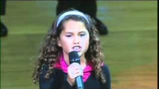Repeat youtube video 9 Year Old with AMAZING VOICE Sings National Anthem at NBA Game
