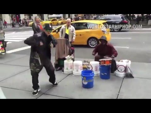 NYC Break Dancer Meets Street Drummer
