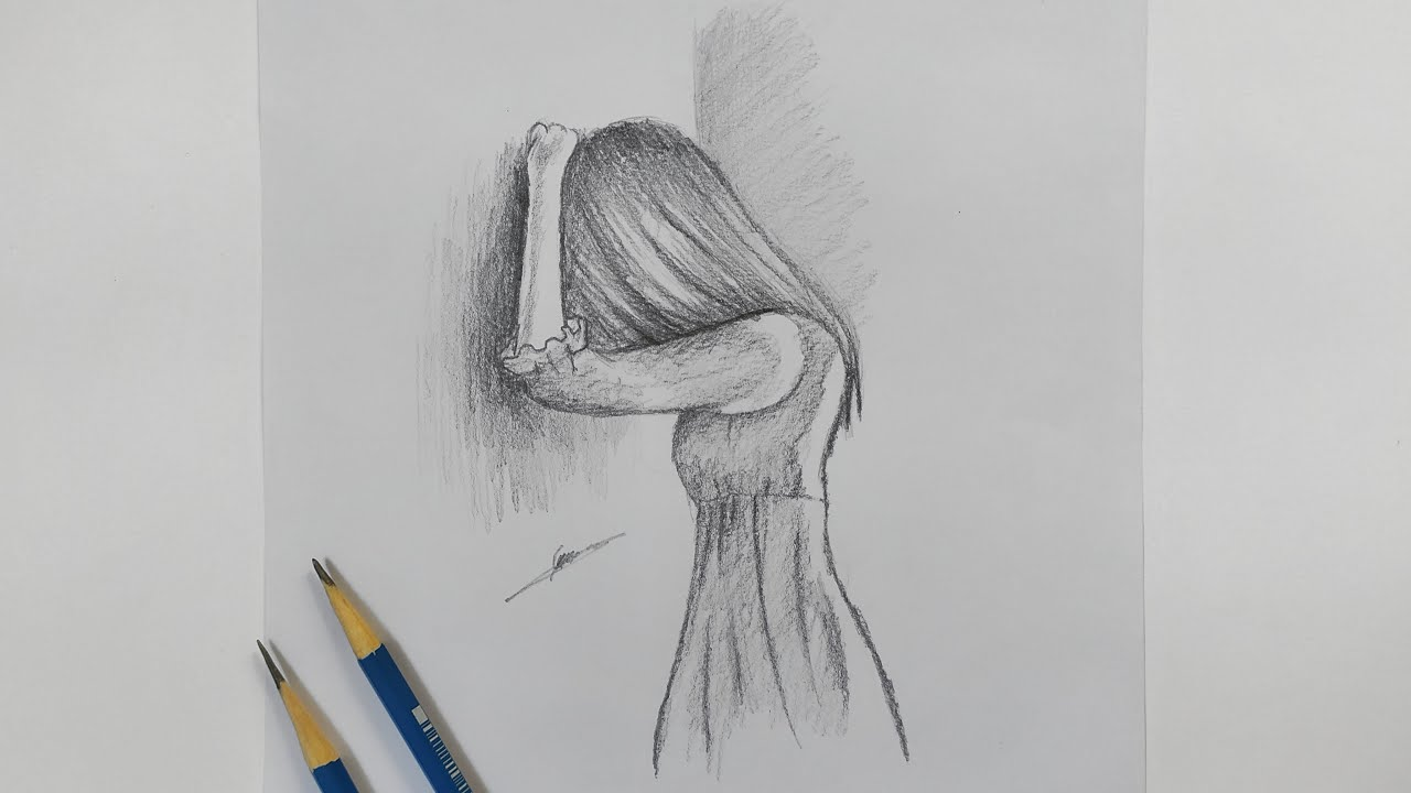 رسم سهل رسم بنت حزينة تبكي بالرصاص رسومات تعبيرية سهلة رسم حزين رسم دموع فتاة للمبتدئين Youtube
