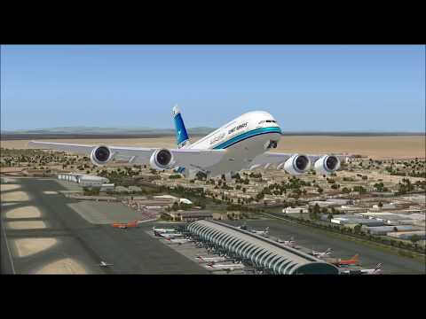 AIRBUS A380 800 KUWAIT AIRWAYS TAKE OFF FROM DUBAI INTL AIRPORT FS9 HD