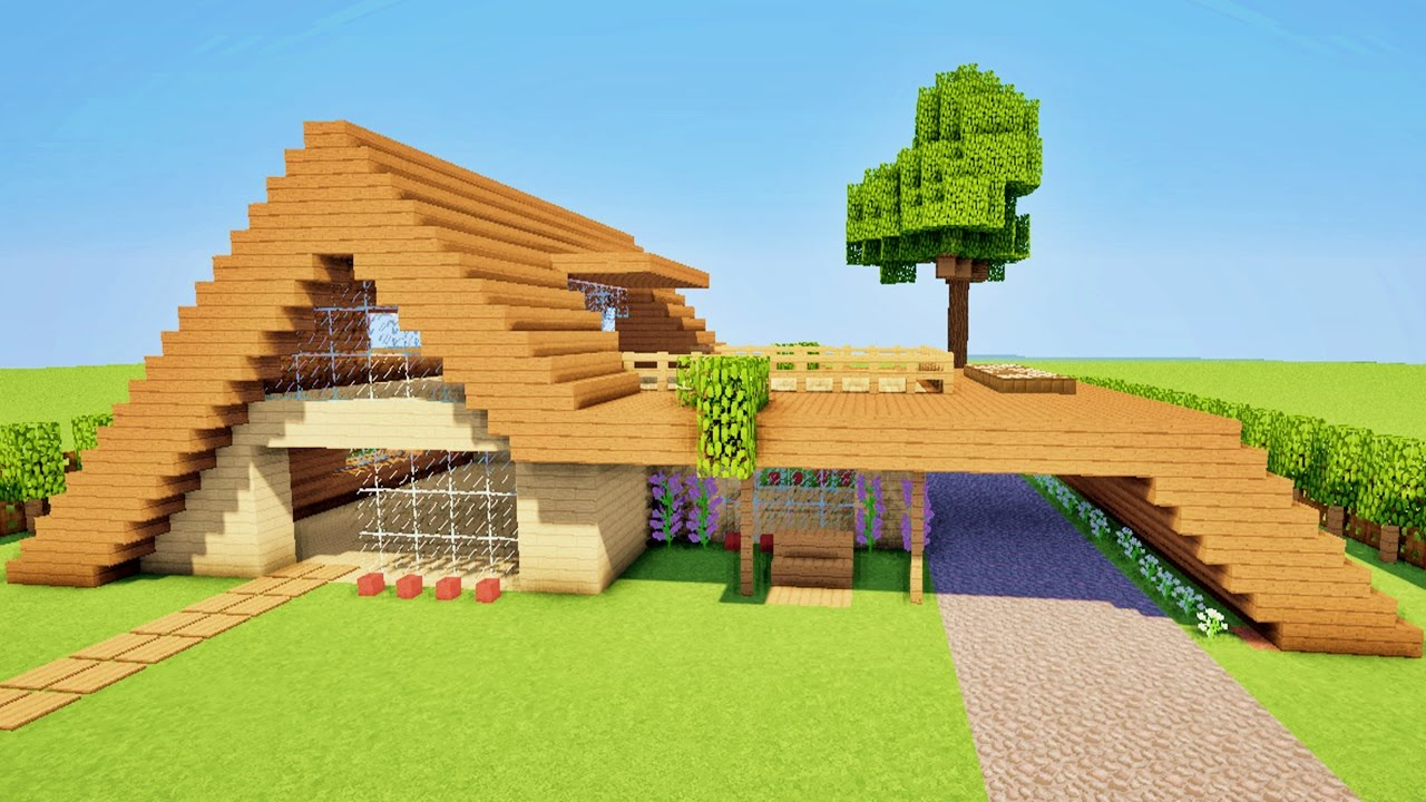 Minecraft tuto comment faire une maison moderne facile a faire youtube - Construction minecraft maison ...
