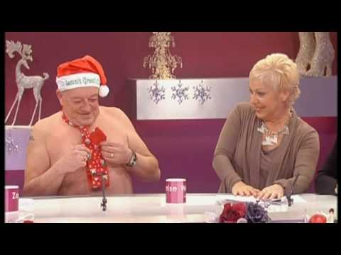 Tim Healy half naked surprising Denise Welch - Loose Women 15th December 2009