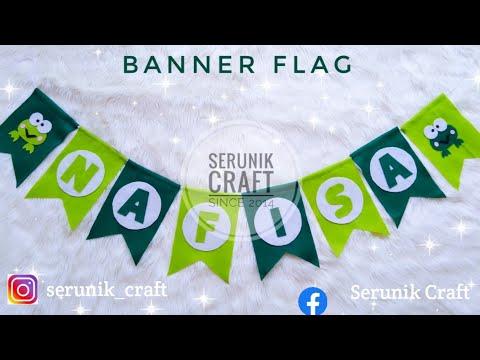 Tutorial Membuat Banner Flag Flanel Tanpa Jahit   Membuat Bunting Flag Dari Kain Flanel