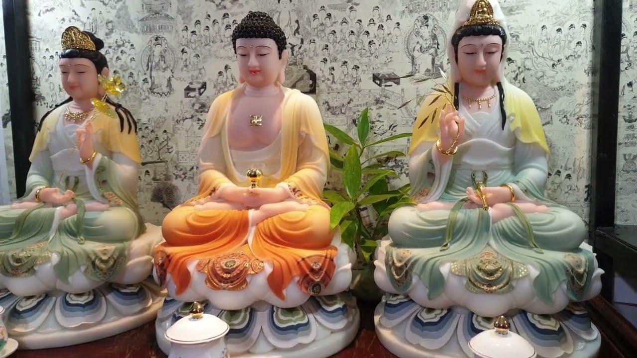 Tượng Tây Phương Tam Thánh Ngồi Bột Đá Vẽ Màu 19in (Thuận Duyên)