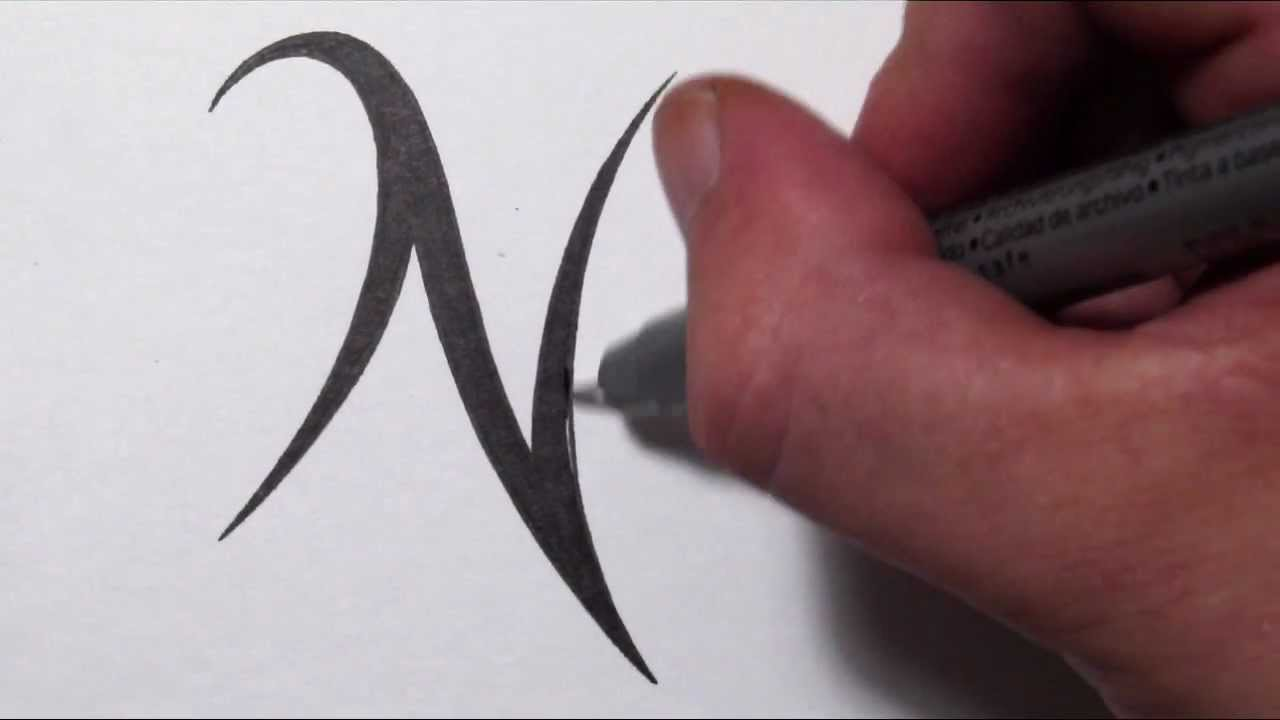 how to draw a simple tribal letter n youtube. Black Bedroom Furniture Sets. Home Design Ideas