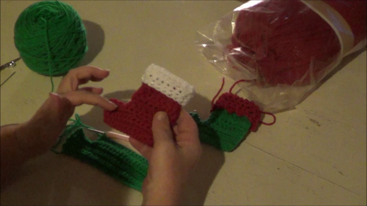 mini elf socks and christmas stocking tutorial crochet