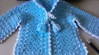 Repeat youtube video Crochet Baby Sweater with Unique Stitch / Video one - Yolanda Soto Lopez