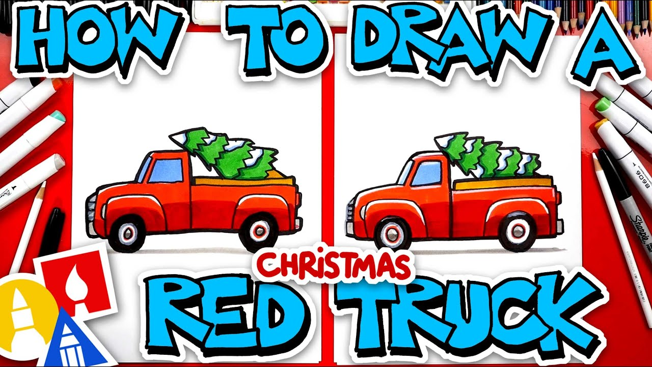 How To Draw A Red Christmas Truck With Tree