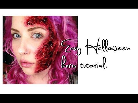Gory bloody burn Halloween Makeup Tutorial using toilet paper.