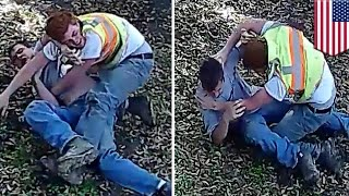 Fight fails  AT&T guys' have a 'sissy fight' in San Antonio backyard   TomoNews
