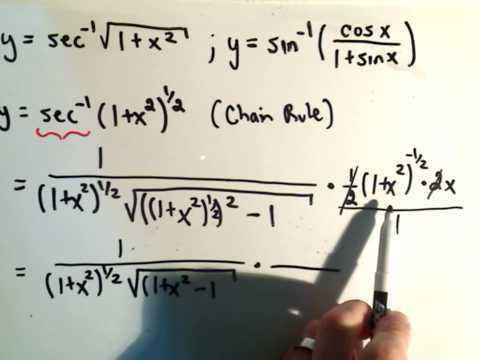 Inverse Trigonometric Functions Derivatives Example 2 Youtube