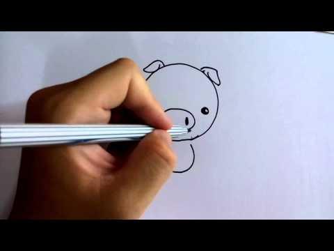 วาดการ์ตูนกันเถอะ สอนวาดการ์ตูน ลูกหมู หัวกลม style Q ง่ายๆ หัดวาดตามได้