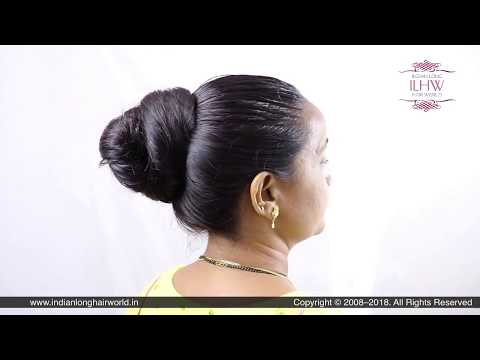 ILHW Shobha's Beautiful & Elegant Bun Making With Her Beautiful Thigh Length Healthy Hair.