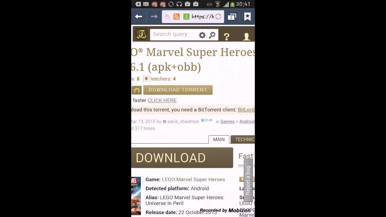 สอนดาวน์โหลดlego-marvel-super-heroes (apk-obb) - YouTube
