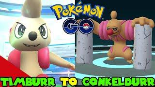 Evolving TIMBURR to CONKELDURR in Pokemon Go
