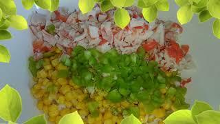 Крабовый постный салат без яиц