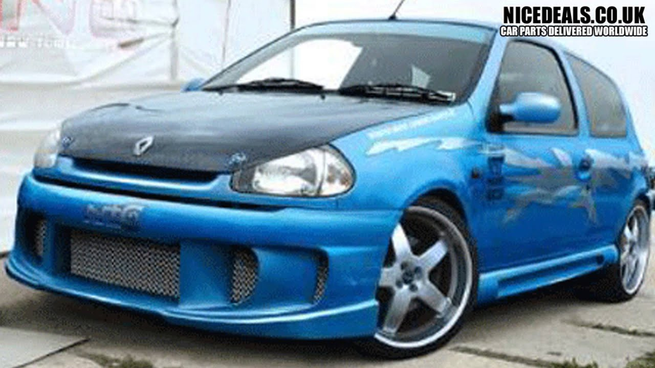 renault clio 98 on sports front bumpers body kits youtube. Black Bedroom Furniture Sets. Home Design Ideas