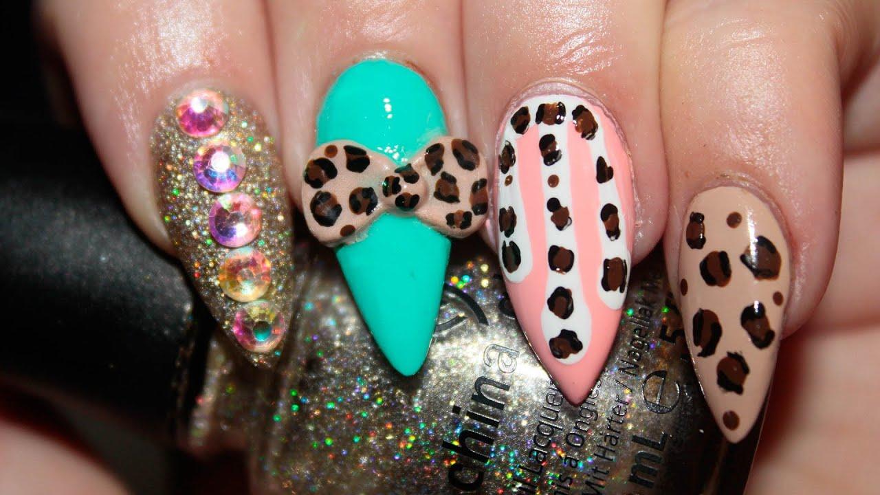 Cheetah Print Fantasy Nails Tutorial - YouTube