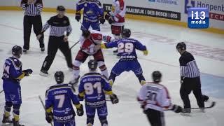 Ijshockey vechtpartij: Brock Montgomery krijgt het aan de stok met Goran Pantic