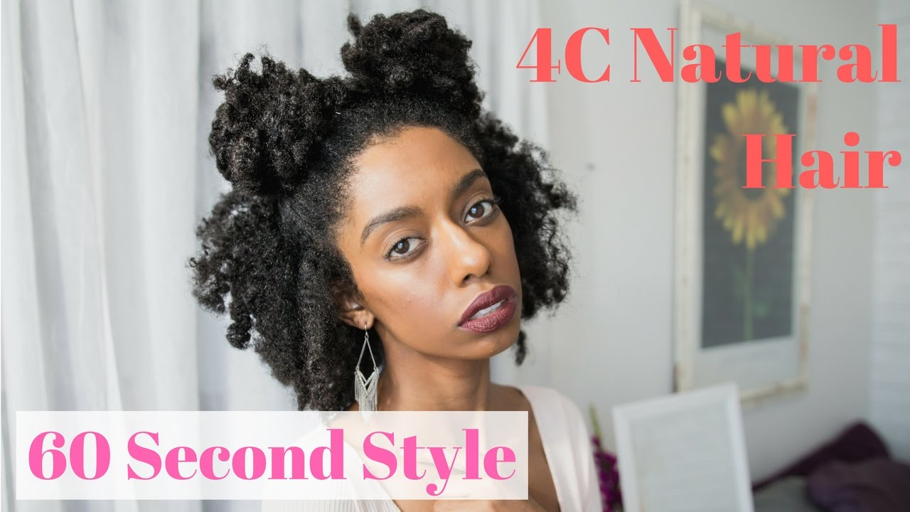 double buns | 60 second easy natural 4c hairstyles for short
