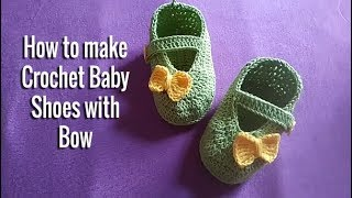 How to make Crochet Baby Shoes with Bow