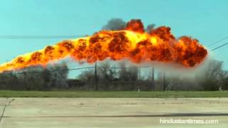 Spectaculat slow-mo shows flamethrower shooting fire 50 feet into the air