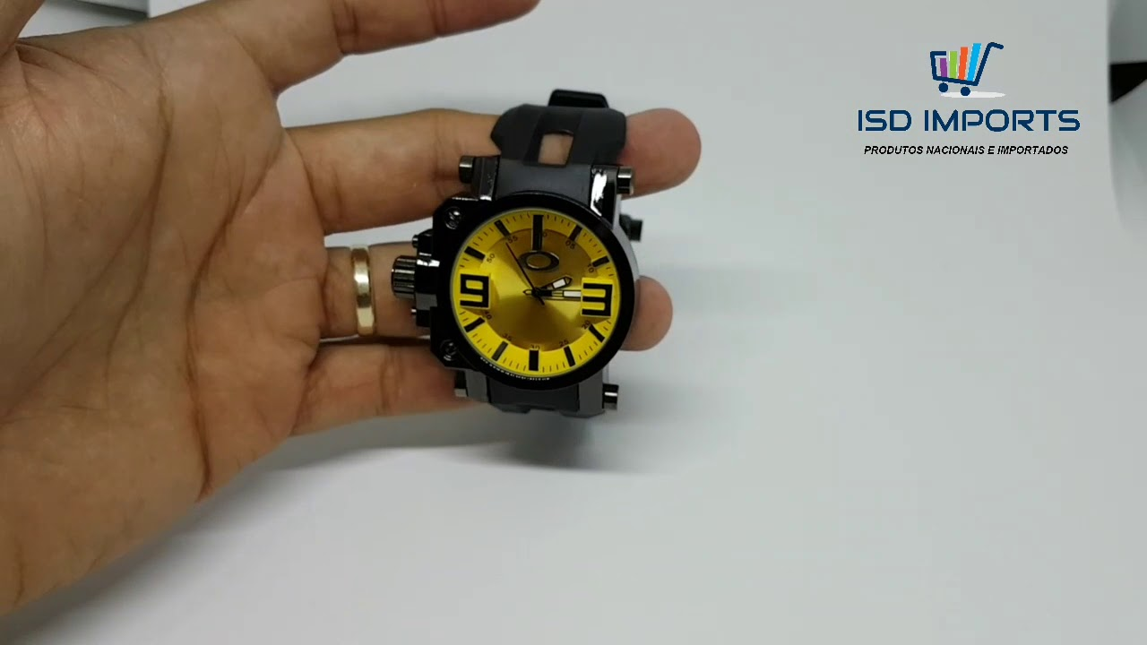 ad3ea8dd348 Relógio OAKLEY Gearbox Titanium - Amarelo com preto - YouTube
