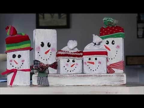 Easy DIY Winter Decor | DIY Block Snowmen