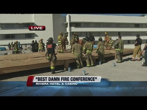 Firefighters practicing at Riviera hotel-casino