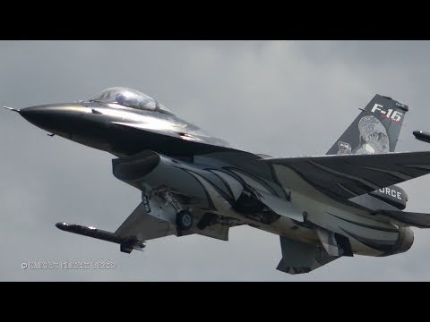 "4K�ᴴᴰ BAF F-16 Solo Display & ""D-Day"" 75th Anniversary Flypast @ RIAT 2019"